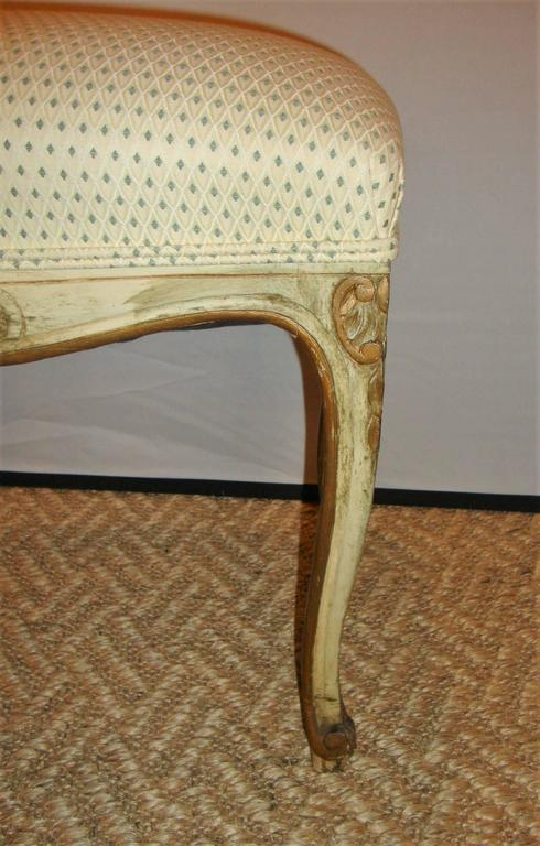 Pair of French Louis XV Style Painted Stools For Sale 4