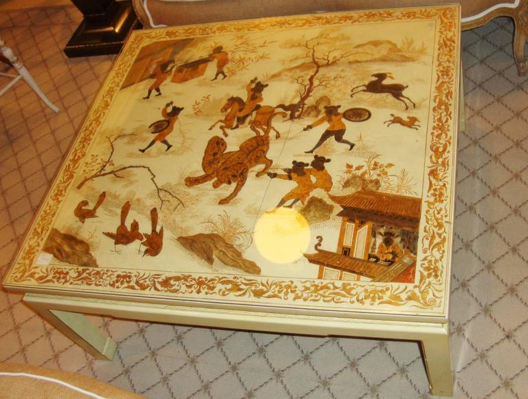 Custom Chinoiserie Paint Decorated Coffee Table 3