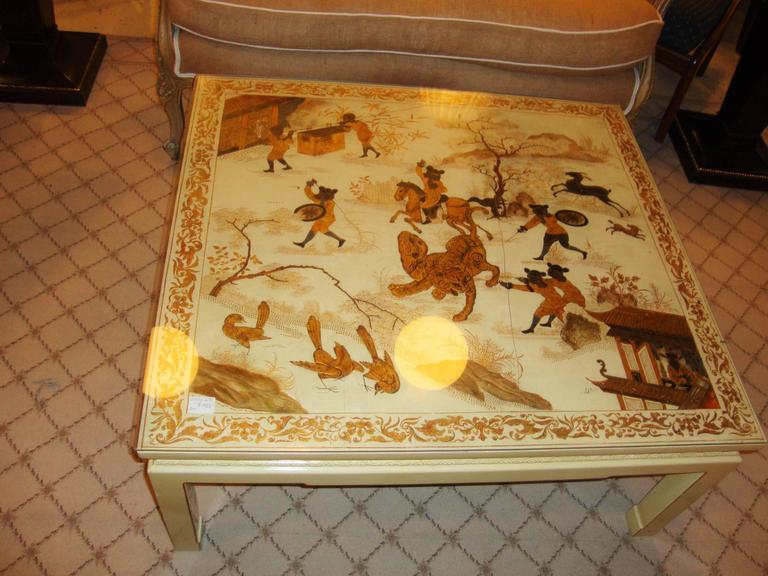 Custom Chinoiserie Paint Decorated Coffee Table 4