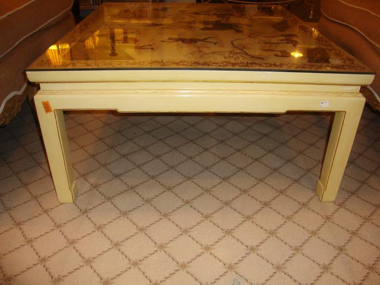 Custom Chinoiserie Paint Decorated Coffee Table 7