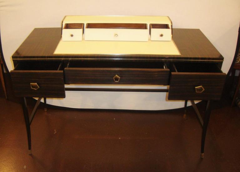 Jonathan Charles Hollywood Regency Leather and Macassar Writing Desk or Vanity In Good Condition For Sale In Stamford, CT