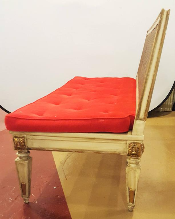 Hollywood Regency Style Paint Decorated and Gilt Gold Louis XVI Style Settee 1