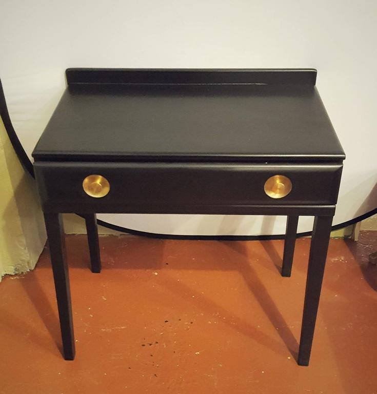 Ebonized Vanity or Desk With Single Drawer Hollywood Regency Style In Good Condition For Sale In Stamford, CT