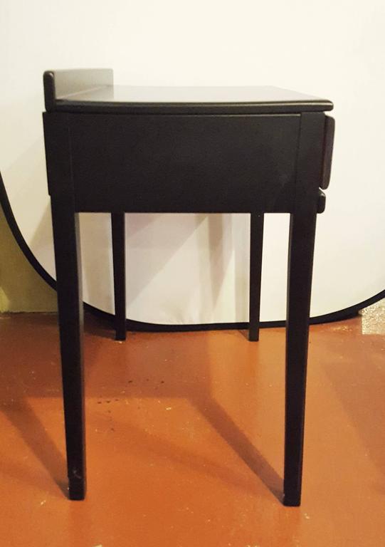 Ebonized Vanity or Desk With Single Drawer Hollywood Regency Style For Sale 2