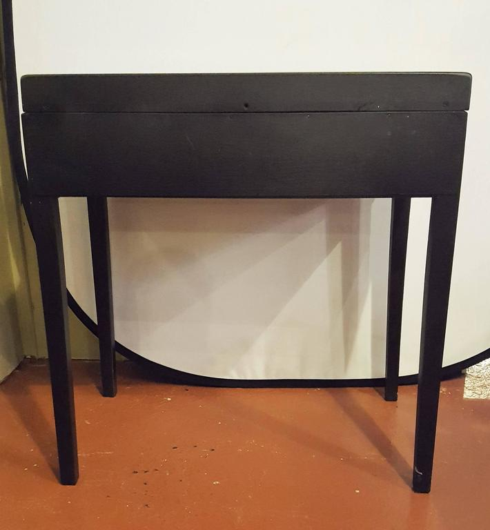 Ebonized Vanity or Desk With Single Drawer Hollywood Regency Style For Sale 4