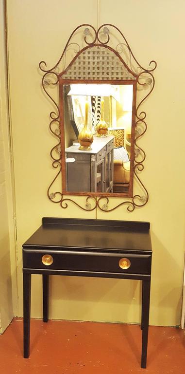 An ebonized vanity or desk. A single drawer, ebonized vanity or desk, recently redone.