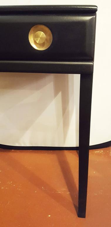 Ebonized Vanity or Desk With Single Drawer Hollywood Regency Style For Sale 5