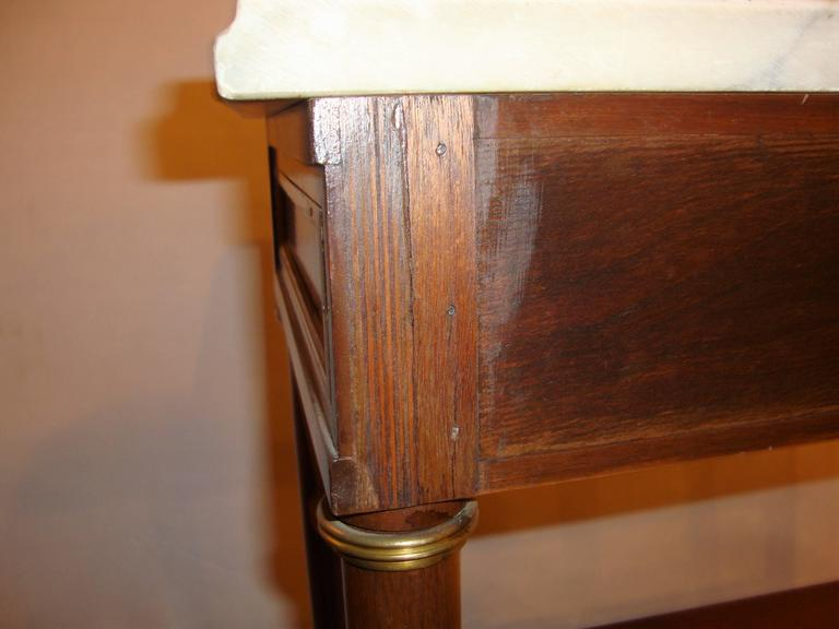 Diminutive Marble-Top Mahogany Stand, End Table in the Manner of Jansen For Sale 2