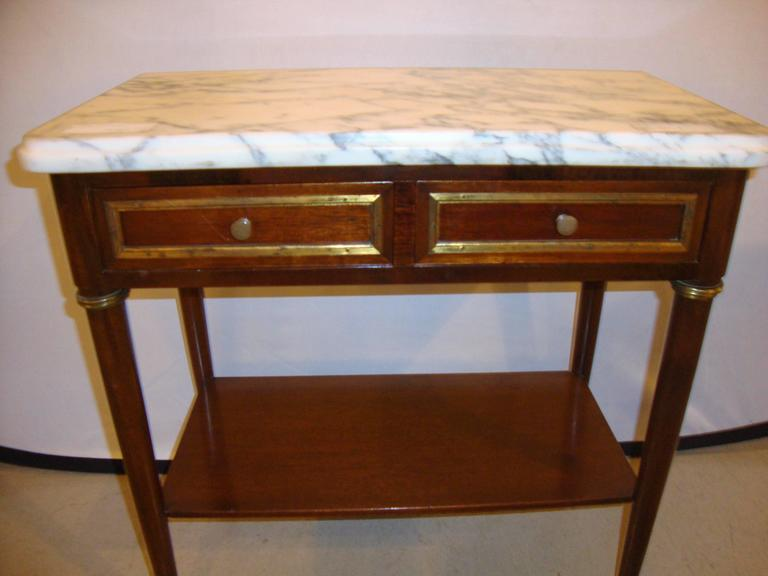 Diminutive Marble-Top Mahogany Stand, End Table in the Manner of Jansen 2