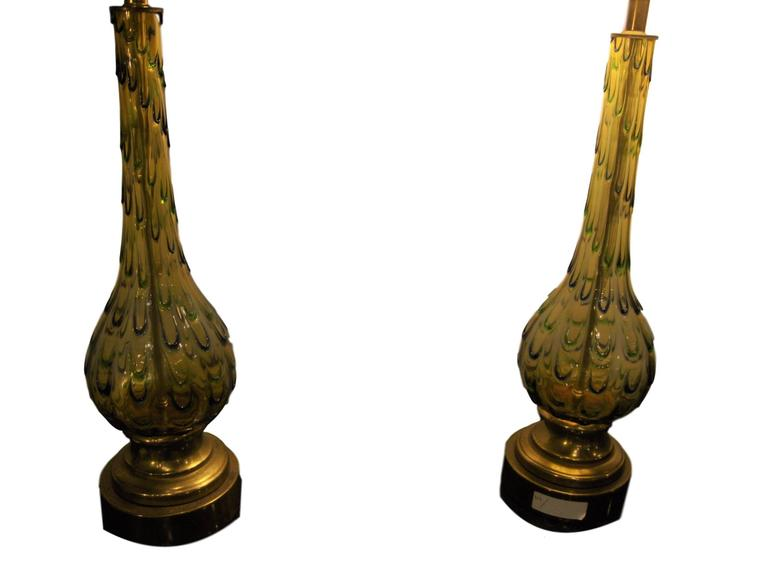 Art Deco Pair of Multicolored Murano Glass Table Lamps For Sale