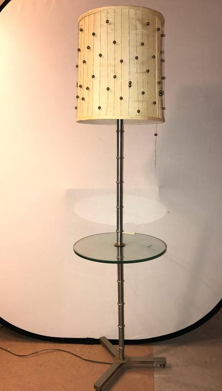 A Faux Bamboo Form Chrome Standing Floor Lamp Table Art Deco In Form. The  Chrome