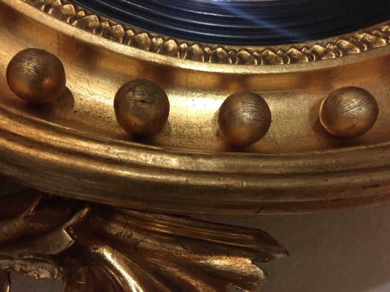Federal Style Convex Mirror Ebony And Gilt Adorning An