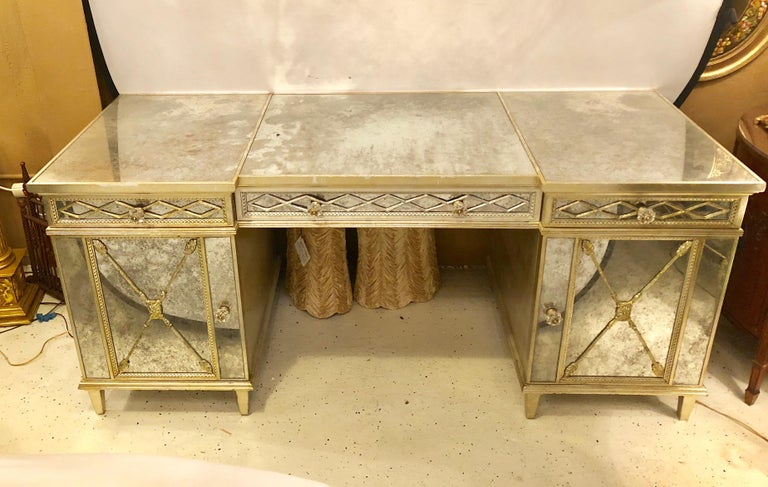 Silver gilt triple vanity with antique mirror paneling and closed arrow  design. This recent palatial - Silver Gilt Triple Vanity With Antique Mirror Panelling And Closed