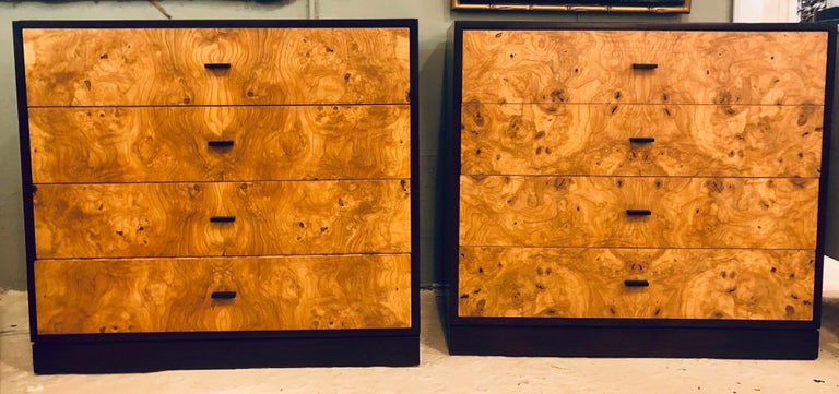 Pair of Harvey Probber labeled burl wood and mahogany commode chests or nightstands. These spectacular Probber designed chests are simply stunning each having an ebonized case that has been professionally polished in our in house workshops. The case