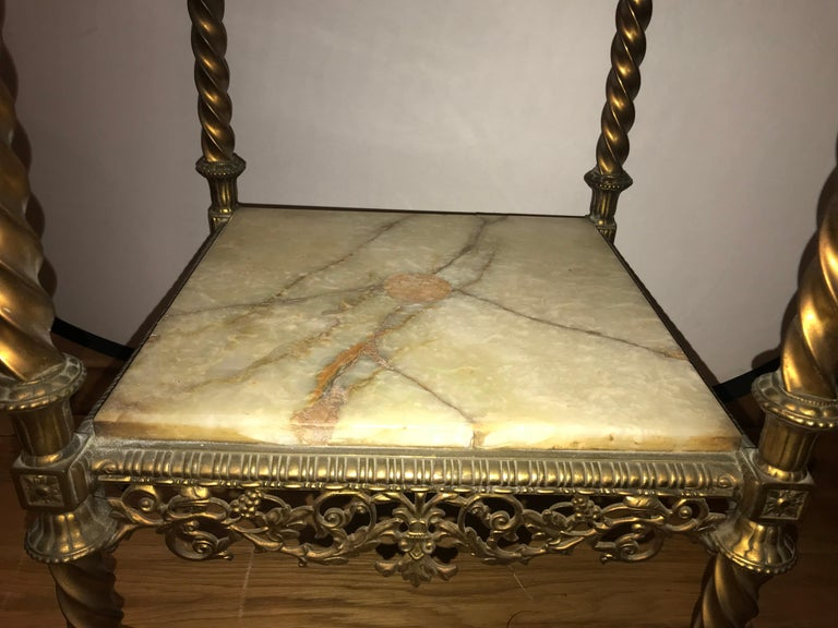 French Two-Tier Bronze and Alabaster Pedestal or End Table For Sale 4