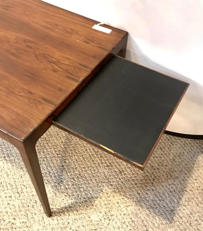 Danish Mid-Century Modern Rosewood Coffee or Low Table with Pull Out Sides For Sale
