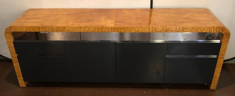 Modern Vladimir Kagan Burl Wood and Lacquered Sideboard or Console with File Cabinets For Sale