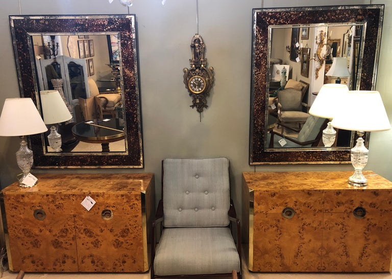 Hollywood Regency Pair of Monumental Tortoise Shell Beveled Bordered Console or Wall Mirrors For Sale