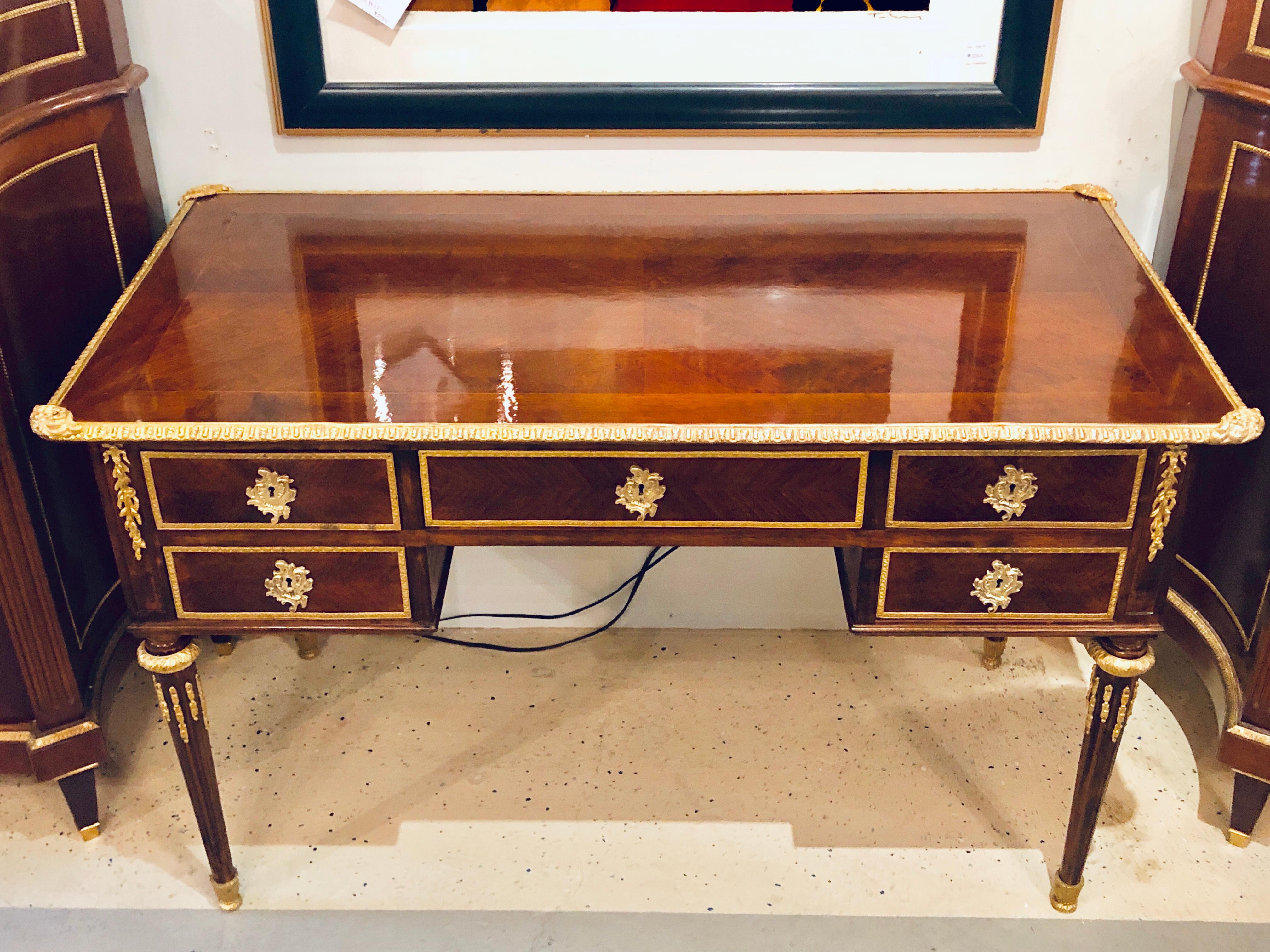 Louis xvi maison jansen style bronze mounted writing desk or