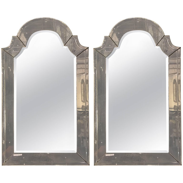 "Pair of ""Classic"" Arch Top Venetian Style Mirrors For Sale"