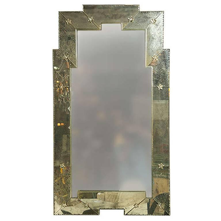 Mixed Pair of Art Deco Style Distressed And Clear Venetian Wall Console Mirrors
