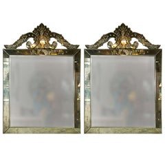 Pair of Distressed Venetian Roma Style Square Mirrors Crest Etched Detail