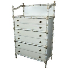 Maison Jansen Faux Bamboo and Gilt Decorated Dresser Cabinet Silvered Glass Top