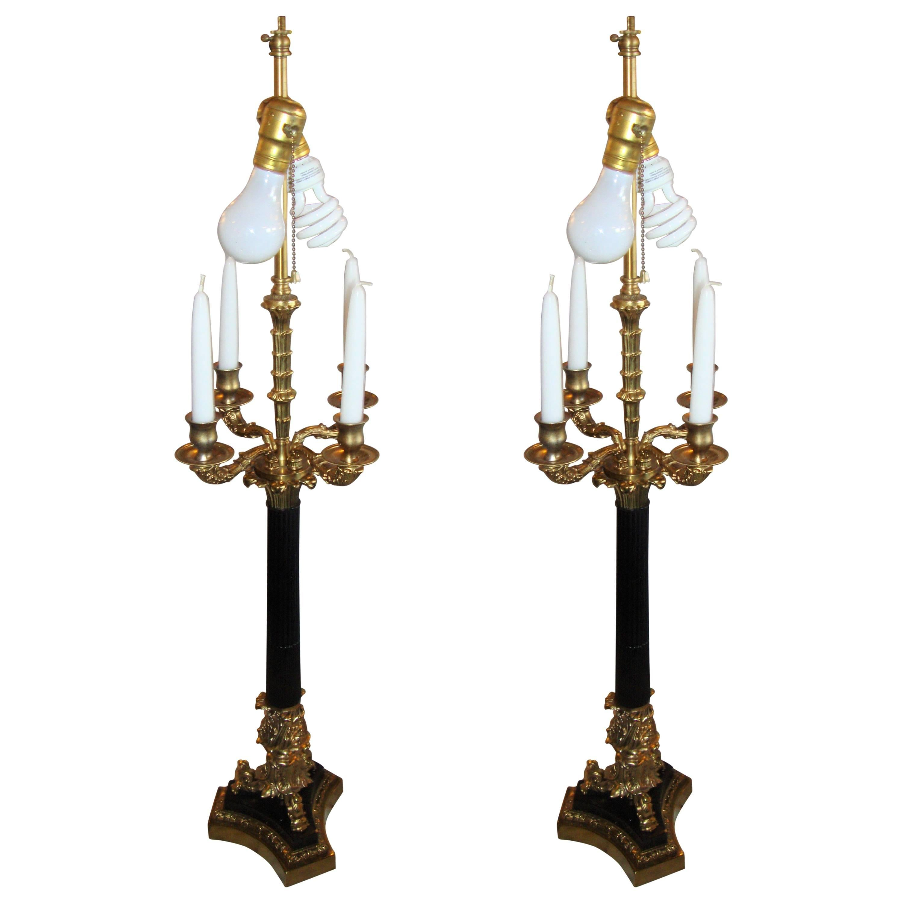 Pair of Bronze Neoclassical Style Table Lamps