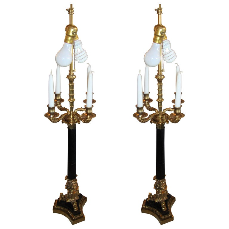Pair of Bronze Neoclassical Style Table Lamps For Sale