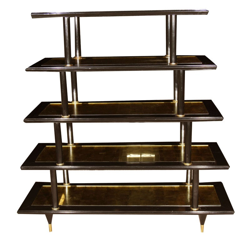 brass and gold plated bookshelf or etagere attributed to maison jansen at 1stdibs. Black Bedroom Furniture Sets. Home Design Ideas