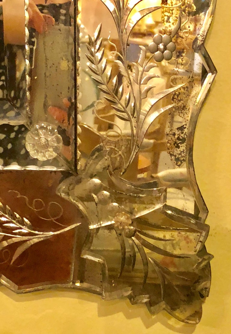 Antique Venetian Etched Glass Wall or Console Mirror For Sale 3