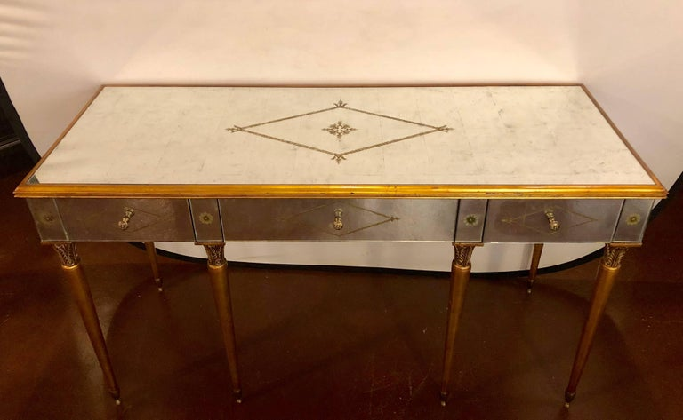 American Hollywood Regency Style Mirrored Desk Vanity Églomisé Decoration By Heritage For