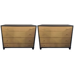 Pair of Parzinger Style Large Chests with Four Leather Front Drawers