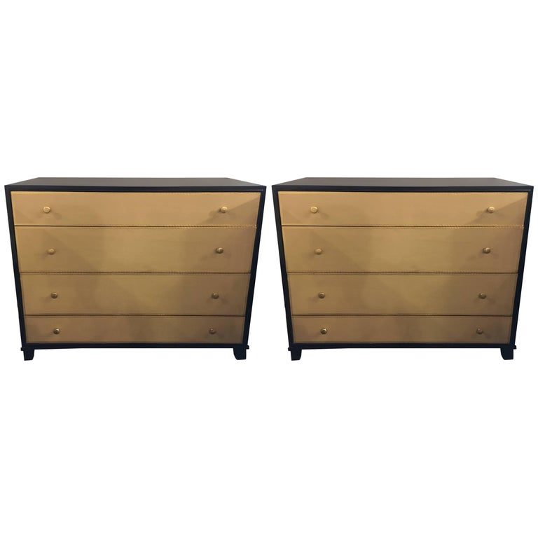 Pair of Parzinger Style Large Chests with Four Leather Front Drawers For Sale