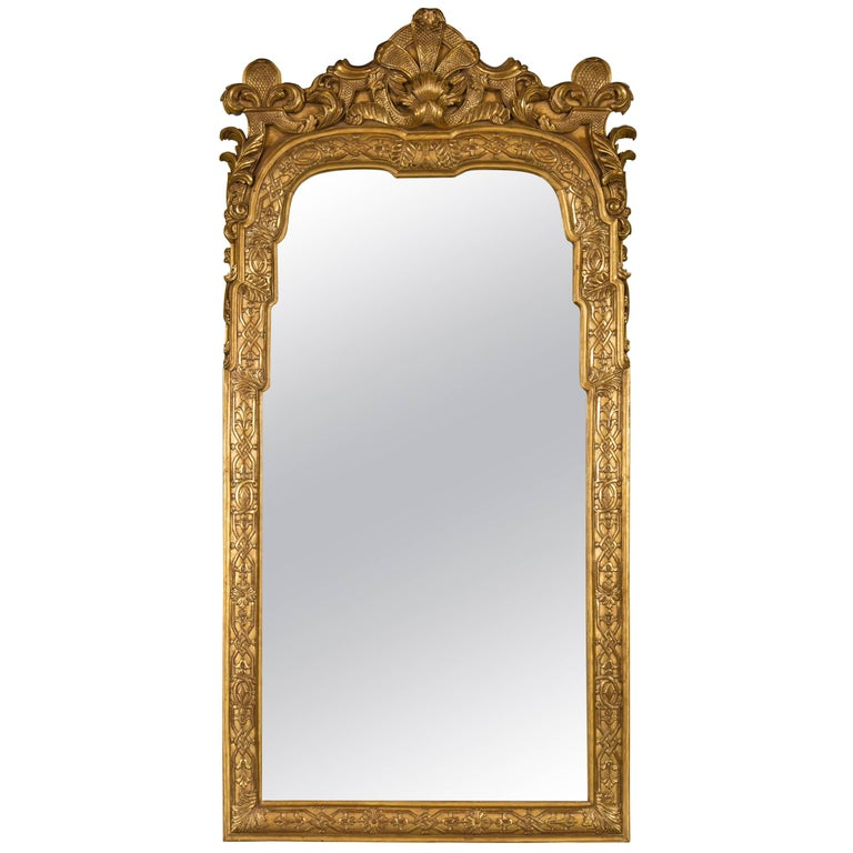 Louis XV Style Solid Gilt Wooden Wall or Console Pier Mirror
