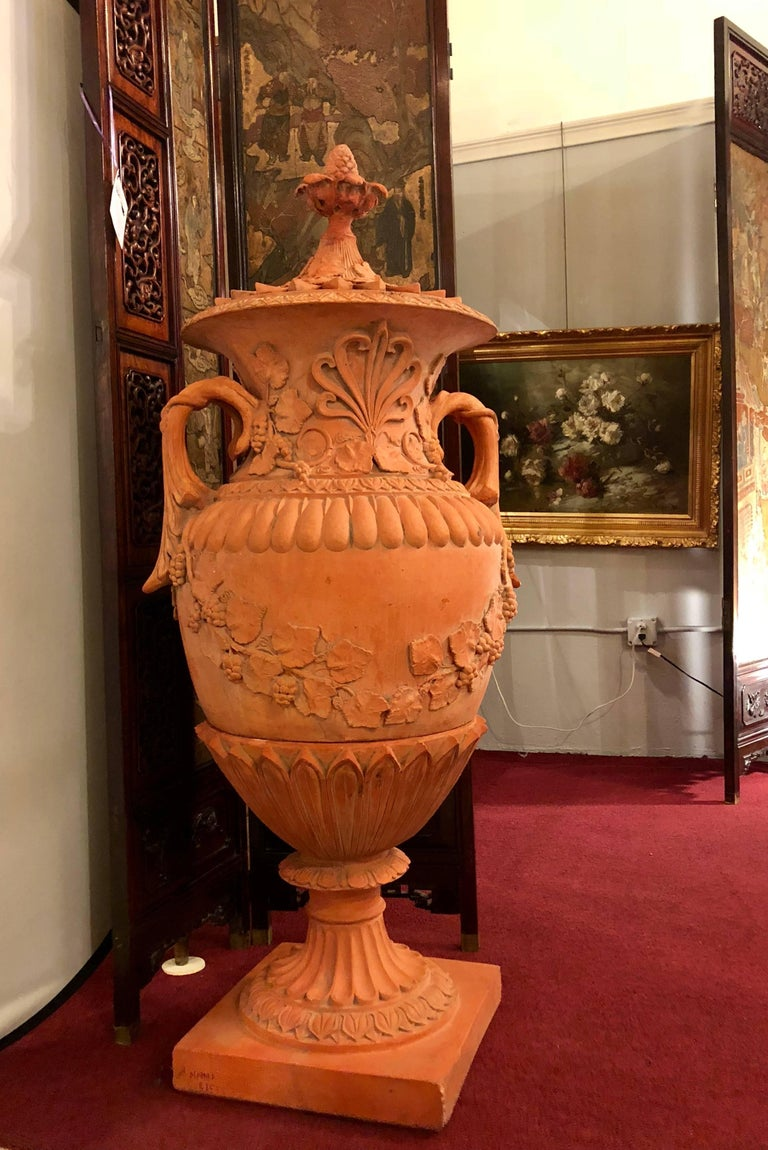 Greek Revival Pair of Monumental Terracotta Three-Piece Lidded Urns For Sale
