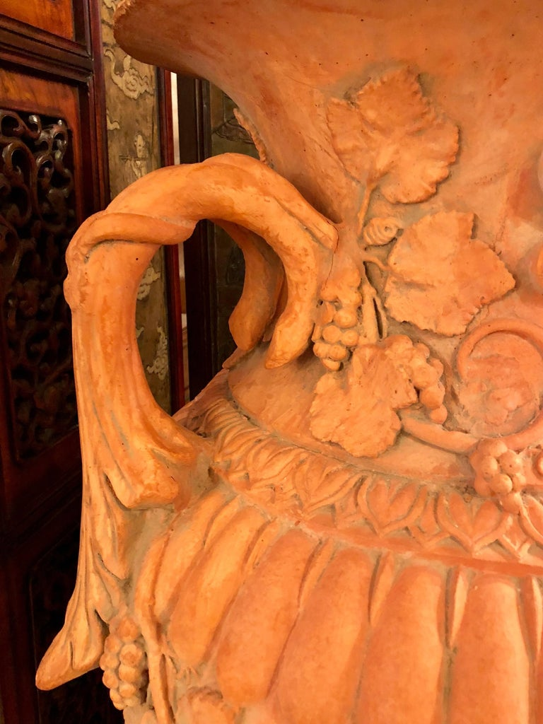 20th Century Pair of Monumental Terracotta Three-Piece Lidded Urns For Sale