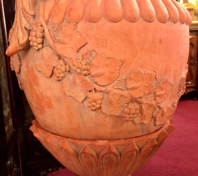 Pair of Monumental Terracotta Three-Piece Lidded Urns For Sale 4