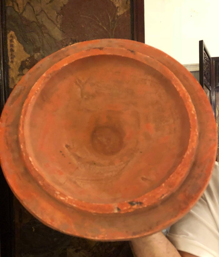 Pair of Monumental Terracotta Three-Piece Lidded Urns For Sale 13