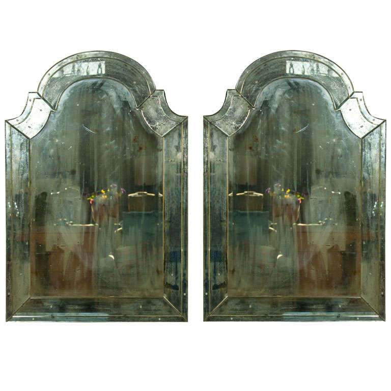 Pair of Distressed Dome Topped Classic Antiqued Pier Mirrors For Sale 3