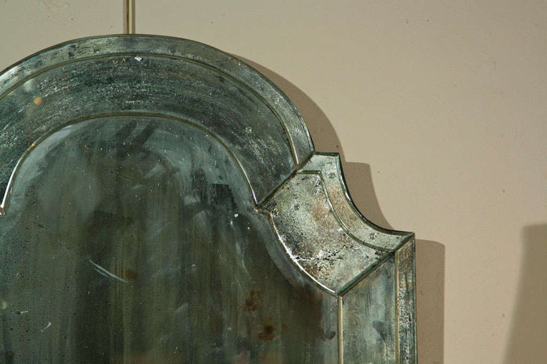 American Pair of Distressed Dome Topped Classic Antiqued Pier Mirrors For Sale