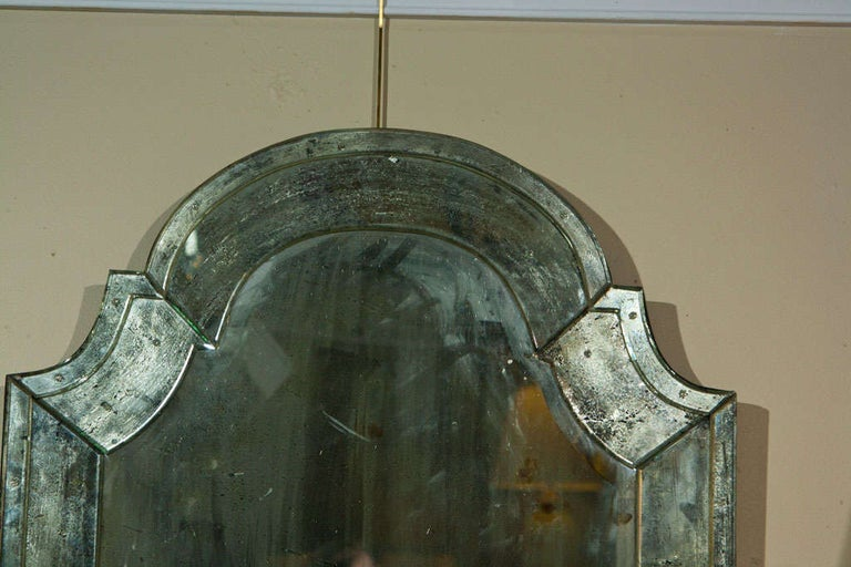 Pair of Distressed Dome Topped Classic Antiqued Pier Mirrors In Good Condition For Sale In Stamford, CT