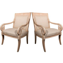 Pair of French Distressed Armchairs Upholstered in Burlap