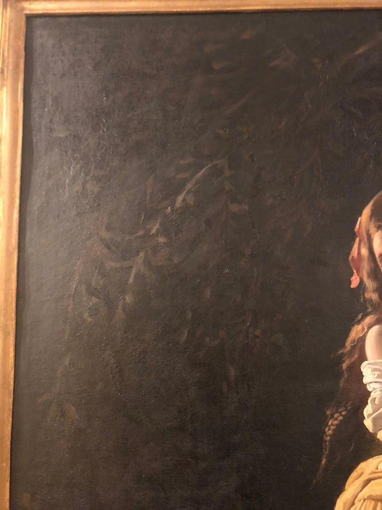 Monumental Oil on Canvas the Old Masters Style of a Maiden to Be Deflowered For Sale 9