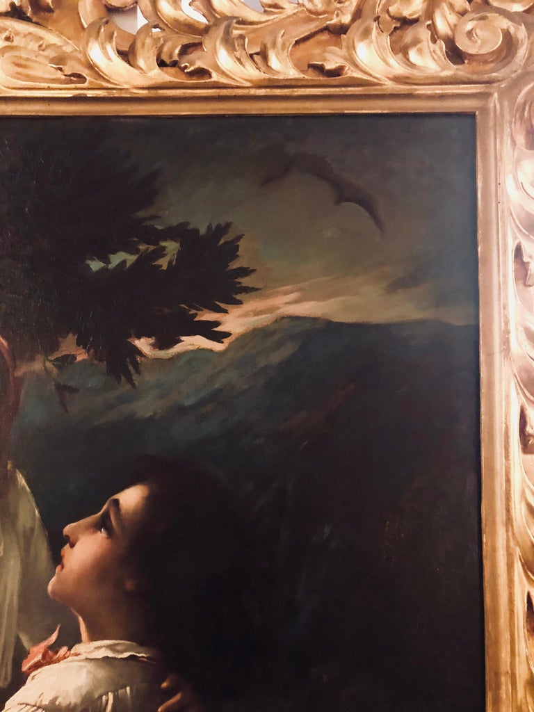 Monumental Oil on Canvas the Old Masters Style of a Maiden to Be Deflowered For Sale 7
