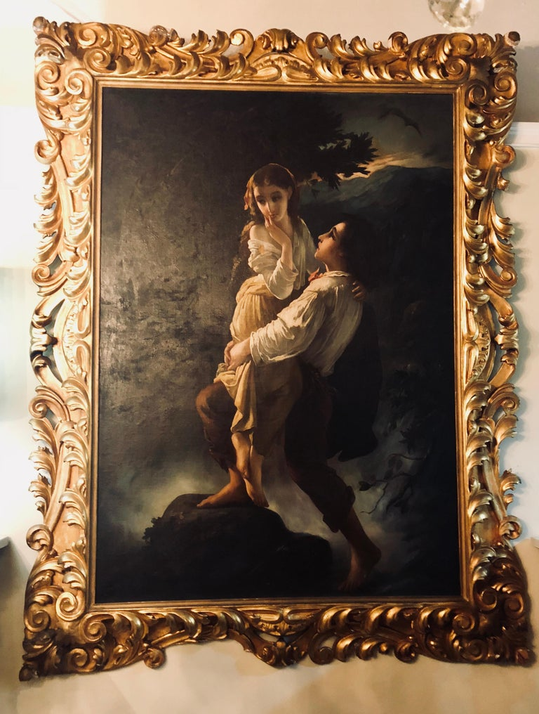 A monumental oil on canvas in The manner of the Old Masters showing a maiden to be deflowered. This palatial oil on canvas from the late 19th or early 20th century is simply stunning and bears the most wonderful quality one could possibly hope for.