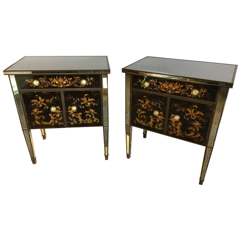 Pair of Jansen Mirror and Églomisé Nightstands or End Tables