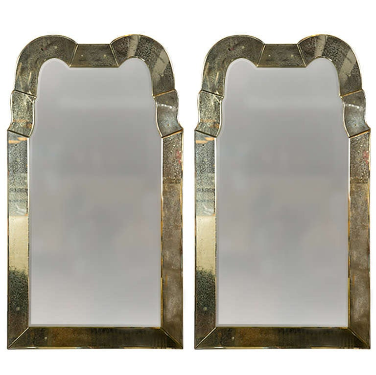 """Pair of Fine """"Queen Anne"""" Style Antiqued Venetian Distressed Glass Mirrors"""