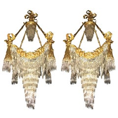 Pair of Bronze Louis XVI Style Crystal Ribbon and Tassle Drapery Chandeliers