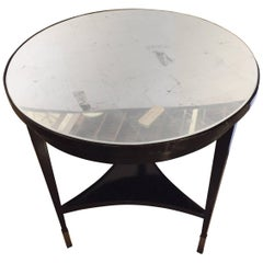 Ebonized Silver Gilt Mirror Top Centre or End Table